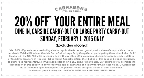 Carrabba's discount coupons
